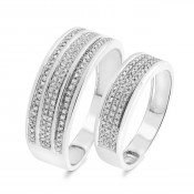 3/8 Carat T.W. Diamond Matching Wedding Band Set 10K White Gold