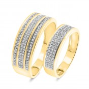 3/8 CT. T.W. Diamond Matching Wedding Band Set 14K Yellow Gold