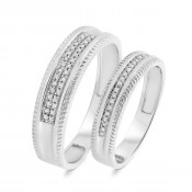 1/6 Carat T.W. Diamond Matching Wedding Band Set 10K White Gold