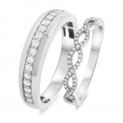 2/3 Carat T.W. Diamond Matching Wedding Band Set 14K White Gold