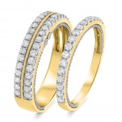 1/3 Carat T.W. Diamond Matching Wedding Band Set 14K Yellow Gold