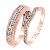 1/2 Carat T.W. Diamond Matching Wedding Band Set 10K Rose Gold