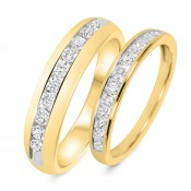 7/8 Carat T.W. Diamond His And Hers Wedding Band Set 14K Yellow Gold