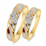 1/10 CT. T.W. Diamond His And Hers Wedding Rings 14K Yellow Gold