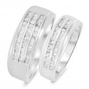 3/4 CT. T.W. Diamond His And Hers Wedding Band Set 14K White Gold