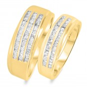 3/4 CT. T.W. Diamond His And Hers Wedding Band Set 14K Yellow Gold