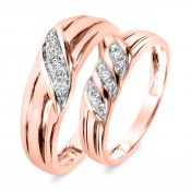 1/5 CT. T.W. Diamond His And Hers Wedding Band Set 14K Rose Gold