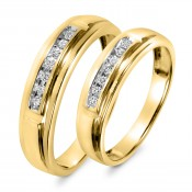 1/8 Carat T.W. Diamond His And Hers Wedding Band Set 14K Yellow Gold