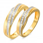 1/7 Carat T.W. Diamond His And Hers Wedding Band Set 14K Yellow Gold