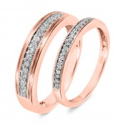 1/4 CT. T.W. Diamond His And Hers Wedding Band Set 10K Rose Gold