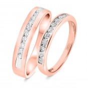5/8 Carat T.W. Diamond His And Hers Wedding Band Set 14K Rose Gold