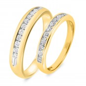 5/8 Carat T.W. Diamond His And Hers Wedding Band Set 14K Yellow Gold