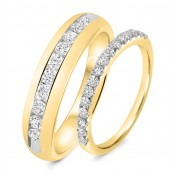 7/8 Carat T.W. Diamond His And Hers Wedding Band Set 10K Yellow Gold