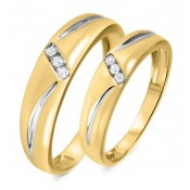 1/10 CT. T.W. Diamond His And Hers Wedding Band Set 10K Yellow Gold