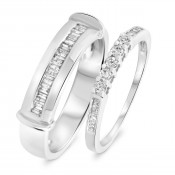 1/2 Carat T.W. Round, Princess Cut Diamond His And Hers Band Set 10K White Gold