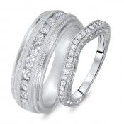 3/4 Carat T.W. Round Cut Diamond His And Hers Wedding Band Set 10K White Gold