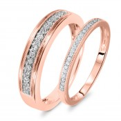 1/4 Carat T.W. Round Cut Diamond His And Hers Wedding Band Set 10K Rose Gold
