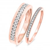 1/3 Carat T.W. Round Cut Diamond His and Hers Wedding Band Set 10K Rose Gold