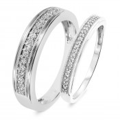 1/4 Carat T.W. Round Cut Diamond His and Hers Wedding Band Set 10K White Gold