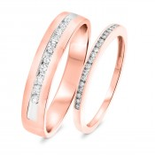 1/2 Carat T.W. Round Cut Diamond His and Hers Wedding Band Set 14K Rose Gold