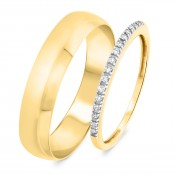 1/10 Carat T.W. Round Cut Diamond His and Hers Wedding Band Set 14K Yellow Gold