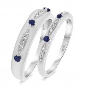 1/3 Carat T.W. Sapphire Matching Wedding Band Set 10K White Gold