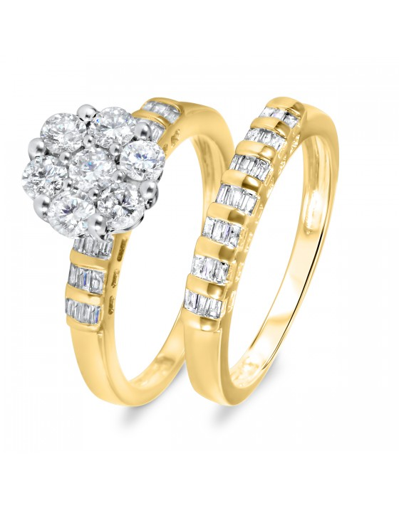 1 1/10 CT. T.W. Diamond Women's Bridal Wedding Ring Set 14K Yellow Gold