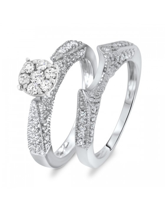 3/4 CT. T.W. Diamond Women's Bridal Wedding Ring Set 14K White Gold