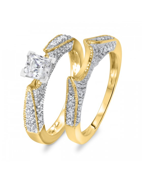 1 1/3 CT. T.W. Diamond Women's Bridal Wedding Ring Set 14K Yellow Gold