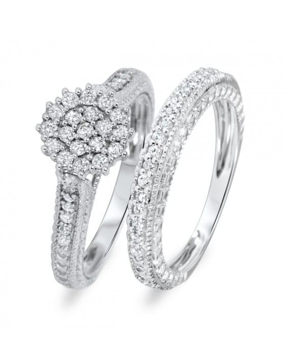 3/4 Carat Diamond Bridal Wedding Ring Set 14K White Gold