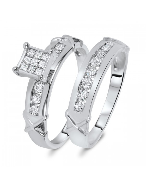 5/8 Carat Diamond Bridal Wedding Ring Set 14K White Gold