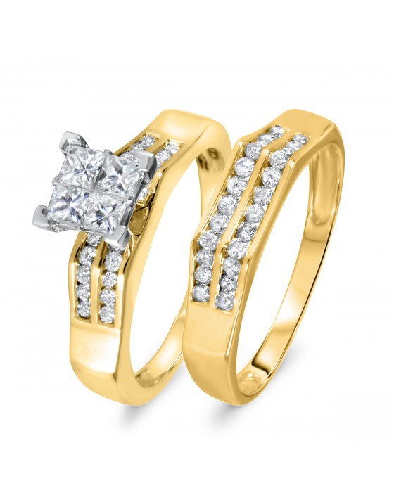 1 CT. T.W. Diamond Women's Bridal Wedding Ring Set 14K Yellow Gold