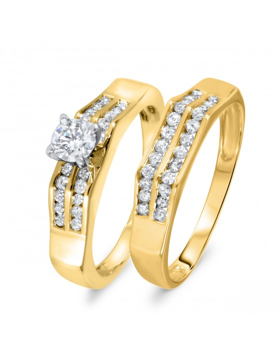 3/4 CT. T.W. Diamond Women's Bridal Wedding Ring Set 14K Yellow Gold