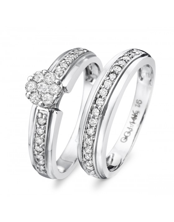 1/2 Carat Diamond Bridal Wedding Ring Set 14K White Gold