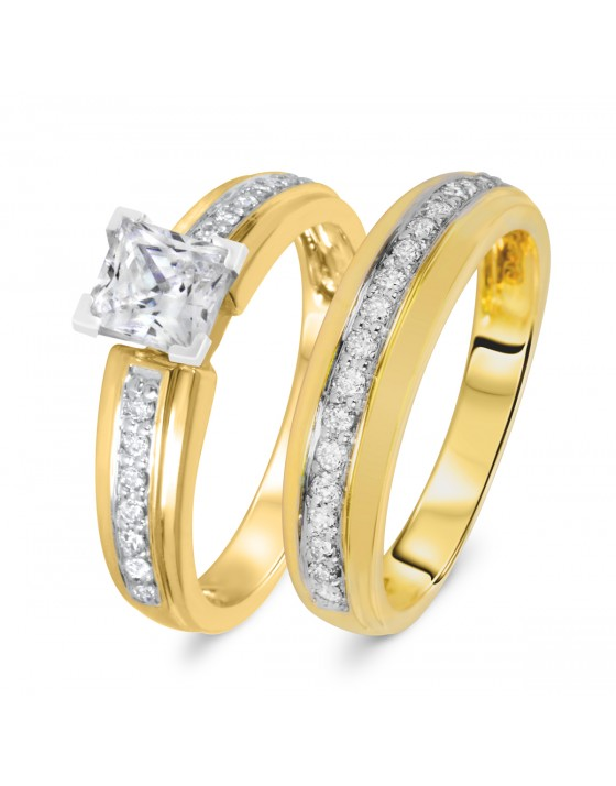 1 1/3 CT. T.W. Diamond Women's Bridal Wedding Ring Set 10K Yellow Gold