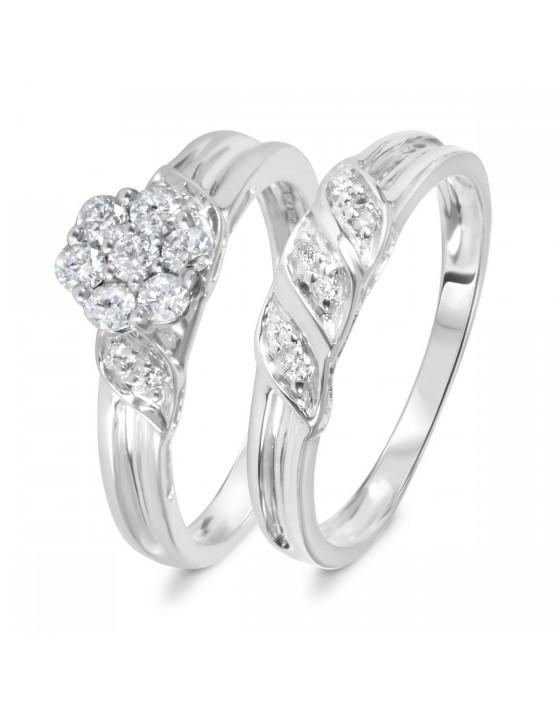 1/2 CT. T.W. Diamond Women's Bridal Wedding Ring Set 10K White Gold
