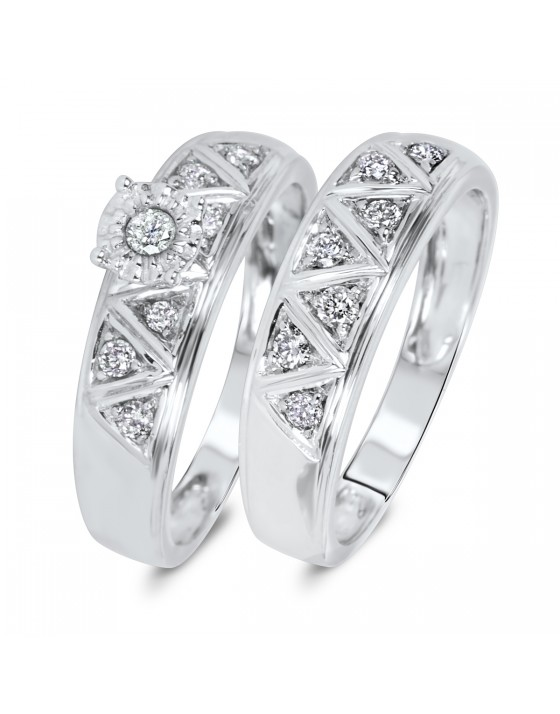 1/3 Carat Diamond Bridal Wedding Ring Set 10K White Gold