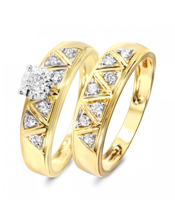 1/3 Carat Diamond Bridal Wedding Ring Set 14K Yellow Gold