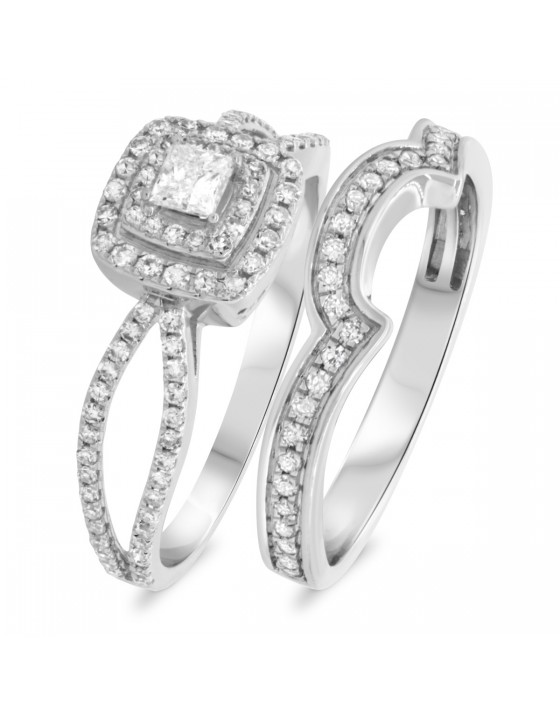 1 CT. T.W. Diamond Matching Bridal Ring Set 10K White Gold