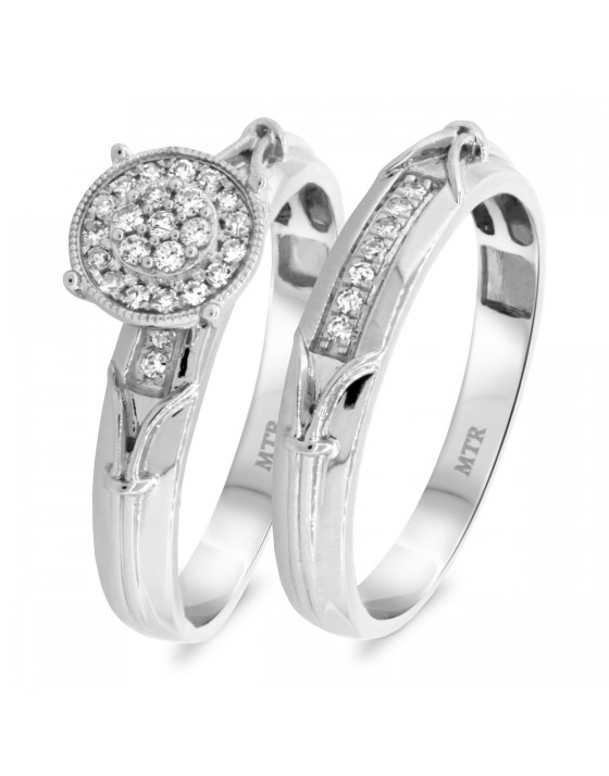 1/4 Carat T.W. Diamond Matching Bridal Ring Set 10K White Gold