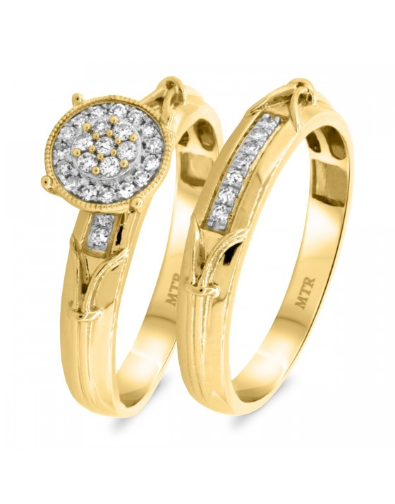 1/4 CT. T.W. Diamond Matching Bridal Ring Set 14K Yellow Gold