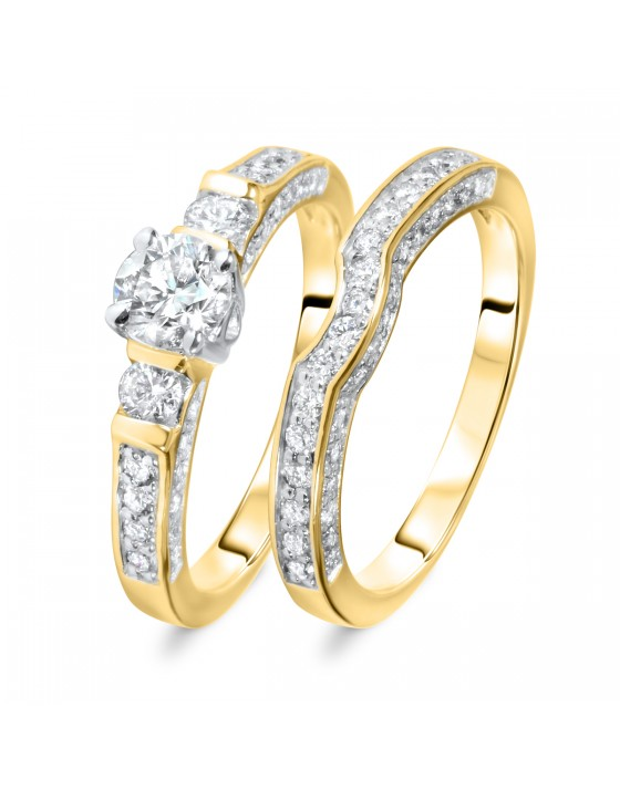 1 1/5 CT. T.W. Round Cut Diamond Ladies Bridal Wedding Ring Set 10K Yellow Gold