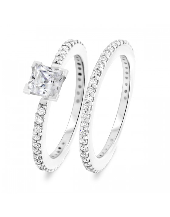 1 2/3 CT. T.W. Diamond Women's Bridal Wedding Ring Set 14K White Gold