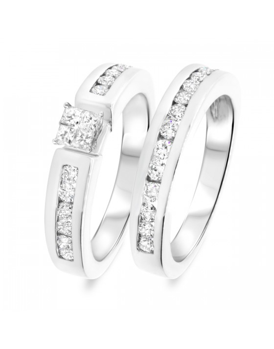 1 1/10 CT. T.W. Diamond Women's Bridal Wedding Ring Set 14K White Gold