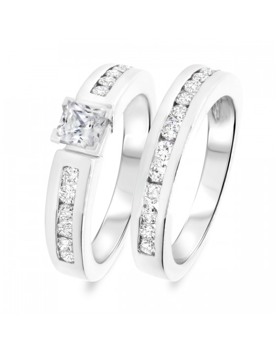 1 1/3 CT. T.W. Diamond Women's Bridal Wedding Ring Set 10K White Gold