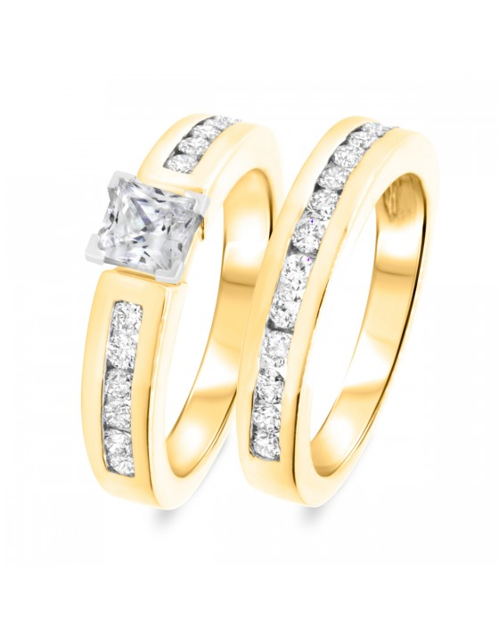 1 1/2 CT. T.W. Diamond Women's Bridal Wedding Ring Set 10K Yellow Gold
