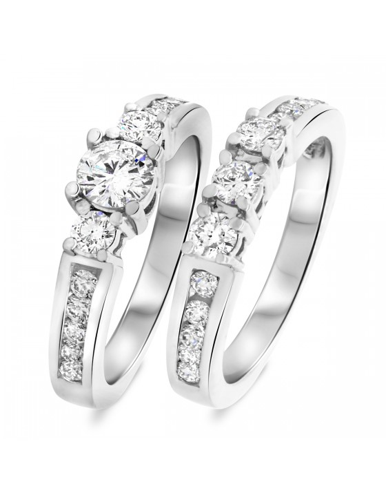 1 1/3 CT. T.W. Round Cut Diamond Ladies Bridal Wedding Ring Set 10K White Gold