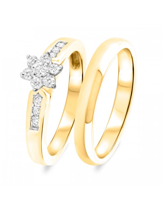 3/8 CT. T.W. Diamond Women's Bridal Wedding Ring Set 10K Yellow Gold