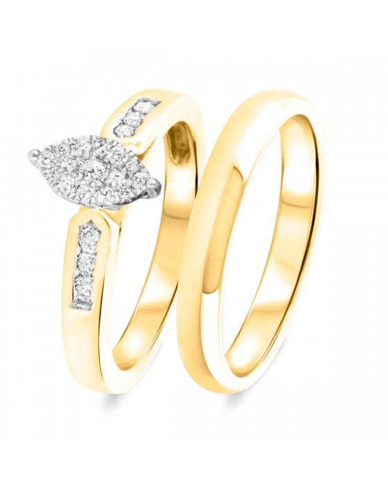 1/3 CT. T.W. Diamond Women's Bridal Wedding Ring Set 10K Yellow Gold