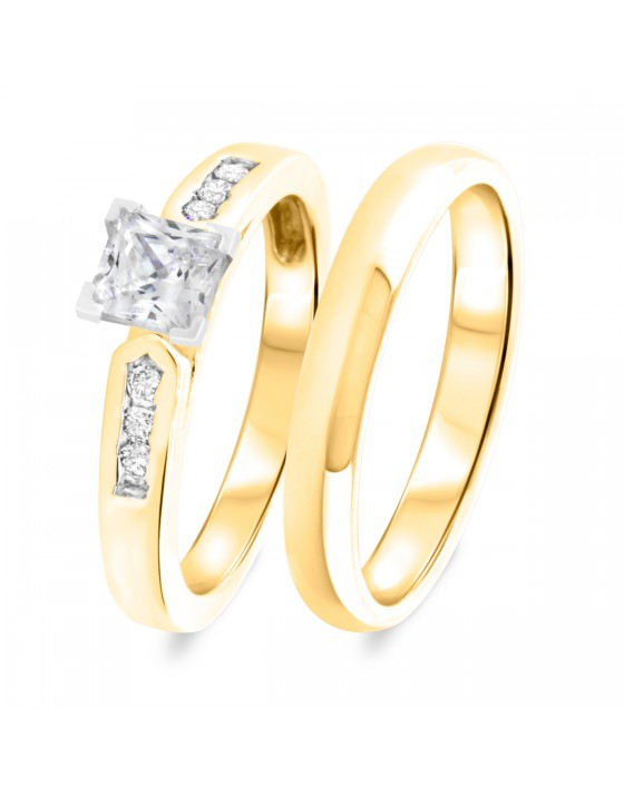 1 1/8 CT. T.W. Diamond Women's Bridal Wedding Ring Set 10K Yellow Gold
